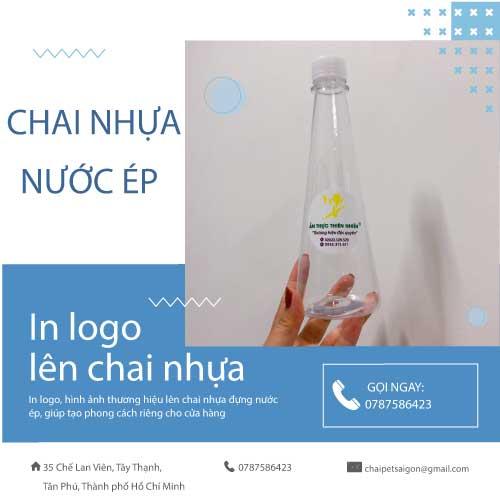 in logo hình ảnh lên chai nhựa đựng nước ép